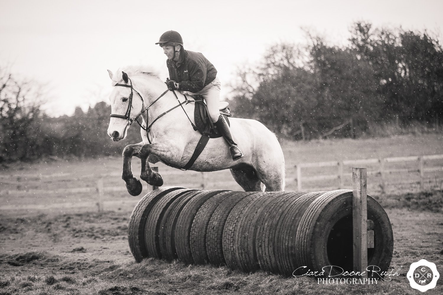 A grey horse jumping a tyre fence