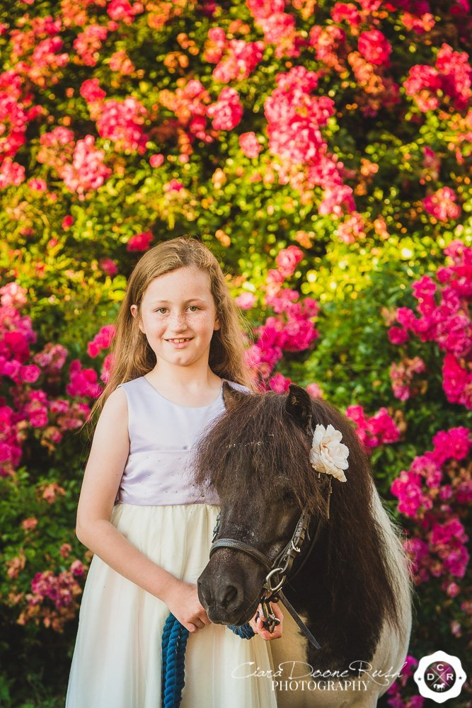 a girl with her pony by some rose bushes