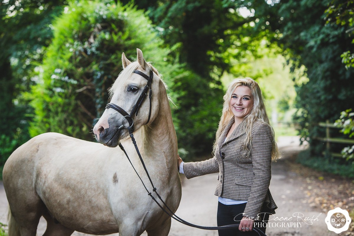 a girl and her pony on a photo shoot on the wirral