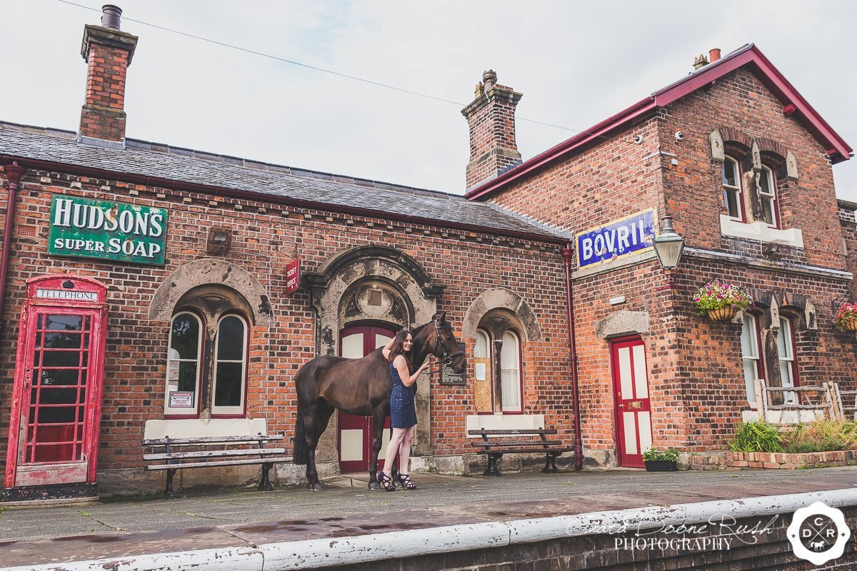 on location at hadlow road train station for a Horse and rider photo shoot