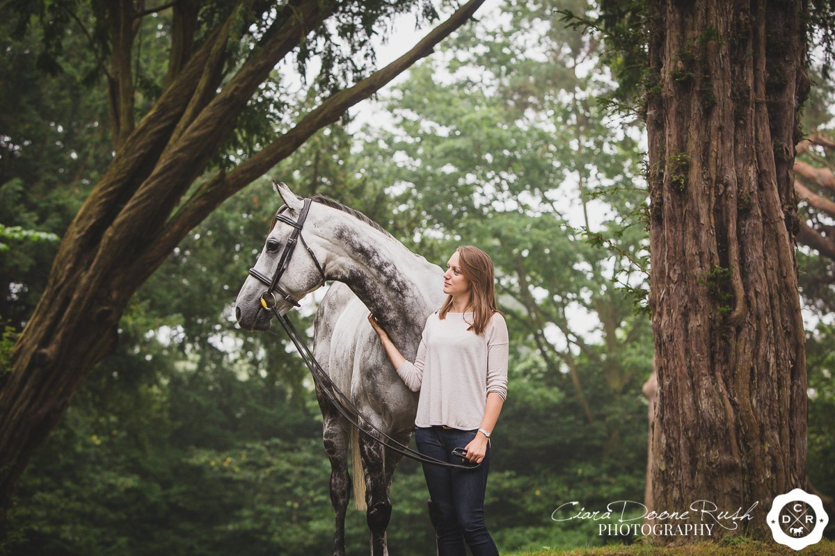 on location at millichope estate for a Horse and rider photo shoot