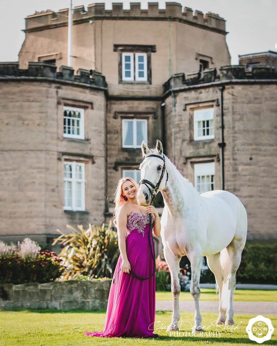 on location at leasowe castle for a Horse and rider photo shoot