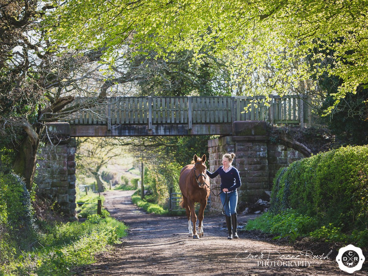 on location on the wirral way for a Horse and rider photo shoot