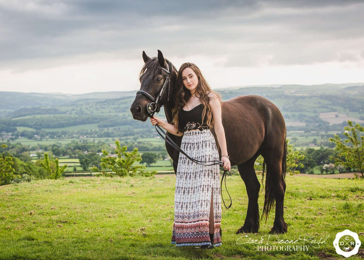 on location in north wales for a Horse and rider photo shoot