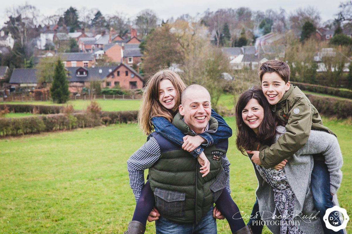 a family of four on their photo shoot in cheshire