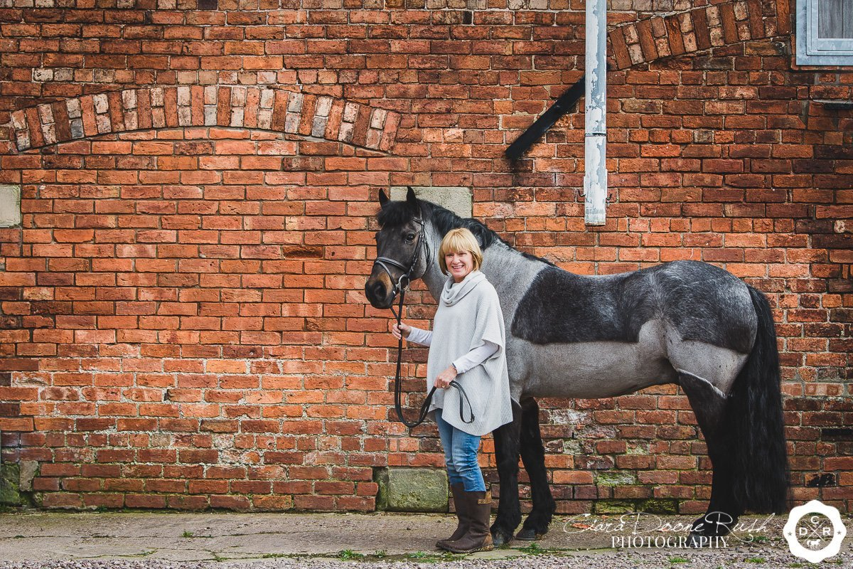 horse and rider farm photo shoot