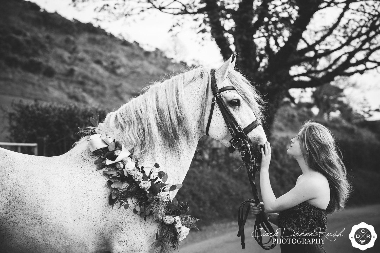 black and white image of a girl and her stallion