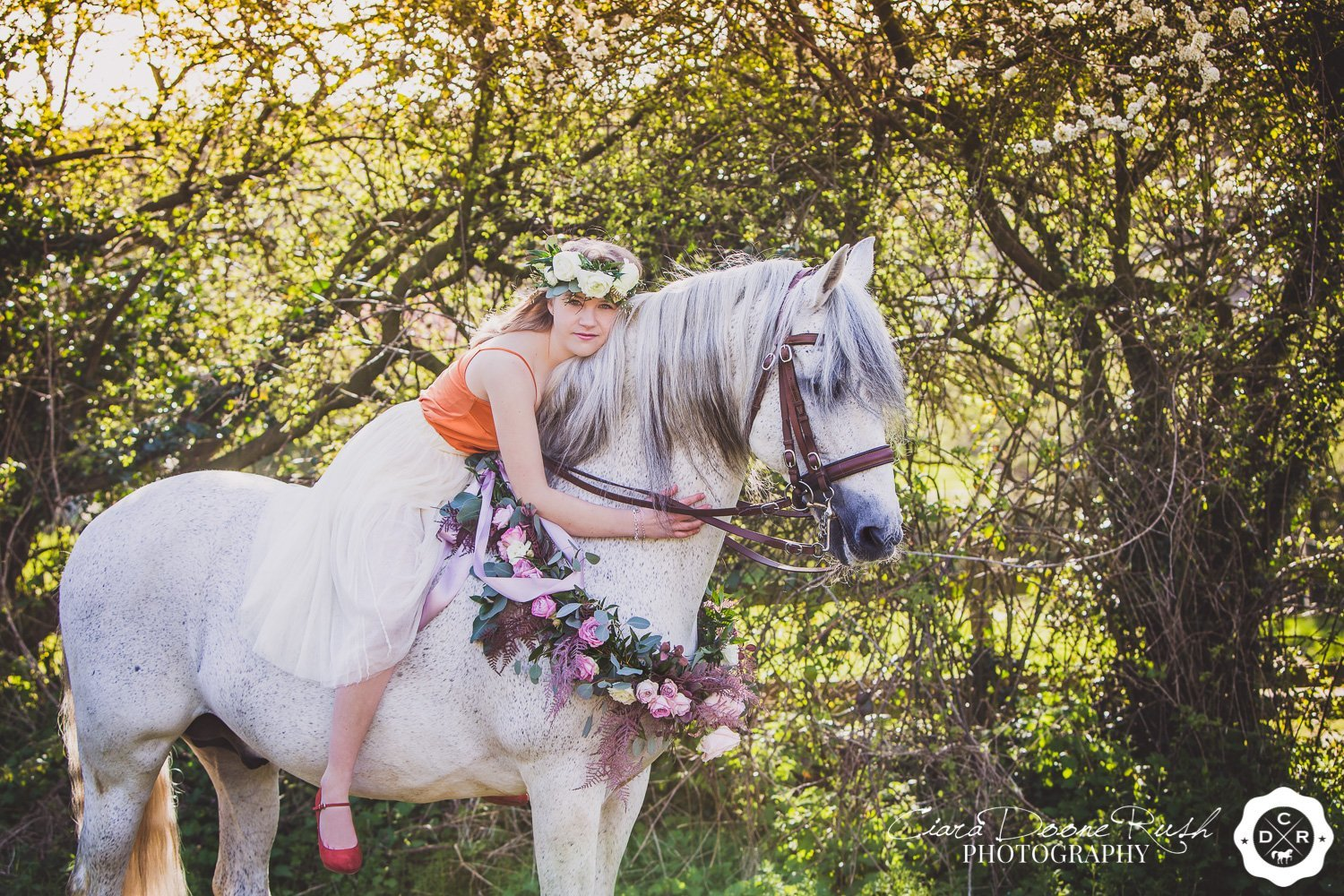 A girl and her horse on a minus the mud photo shoot