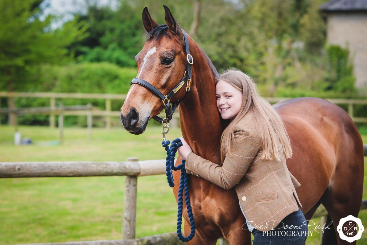Molly and Henry on a horse and rider photo shoot