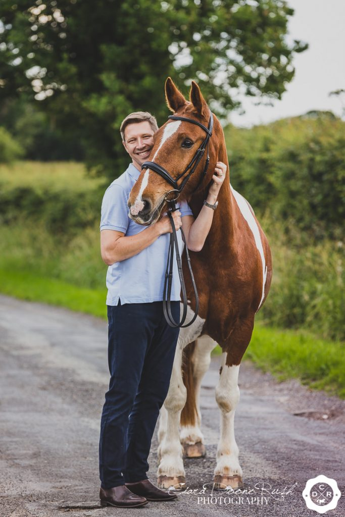 A man and his Horse on a Photo Shoot