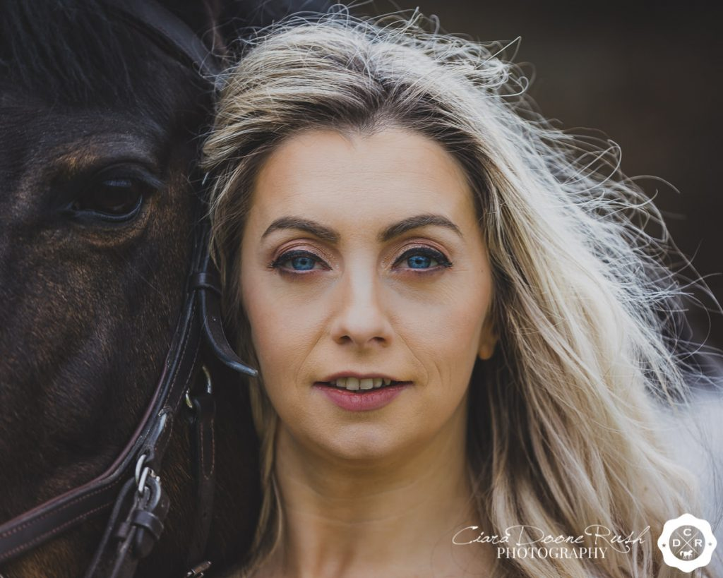 a woman and her horse on a photo shoot in cork