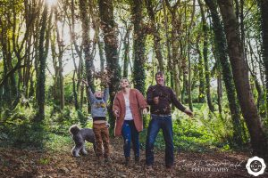 autumn leaves on a family and animals photo shoot