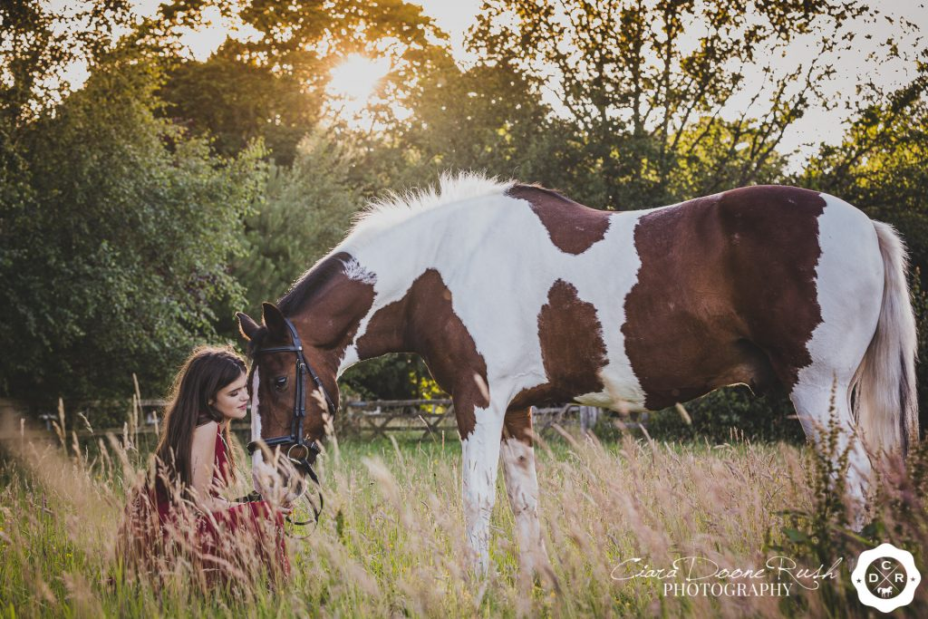 a prom dress and horse photo shoot